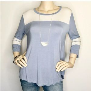 She + Sky Large Baseball Tee Jersey Knit Top